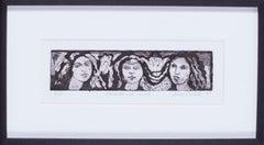 20th Century British print 'Pre-Raphaelite girls'
