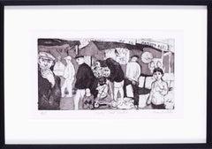 Mid 20th Century British print of London life 'Chapel street market'