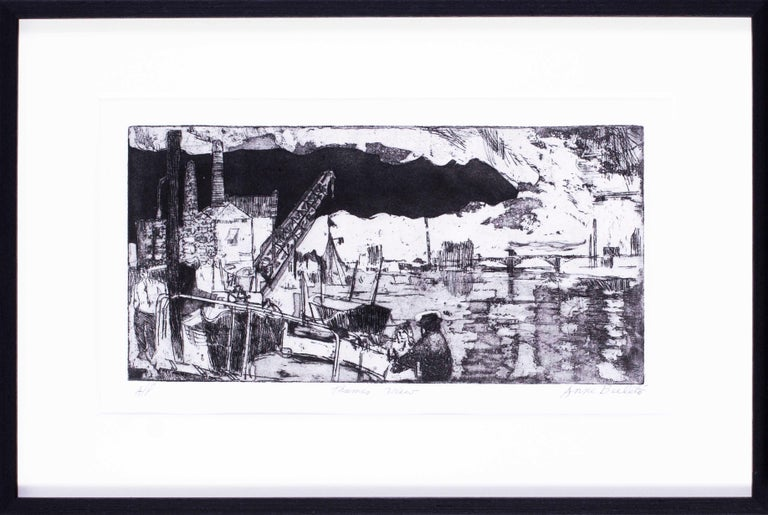 Anne Bulitis Landscape Print - 20th Century British print of a the Thames, London