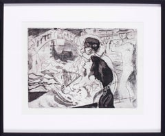 British 20th Century print of lovers in a gondola in Venice