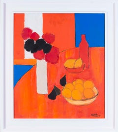 Abstract 20th Century French still life with figs, lemons and a vase of flowers