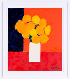 Abstract French 20th Century still life of a vase of flowers