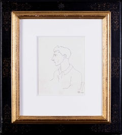 Early Jean Cocteau, Self Portrait, ink drawing, 1922