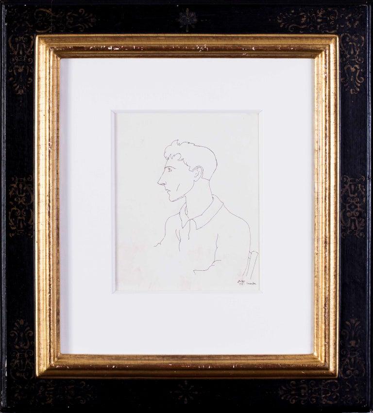 Early Jean Cocteau, Self Portrait, ink drawing, 1922 - Art by Jean Cocteau