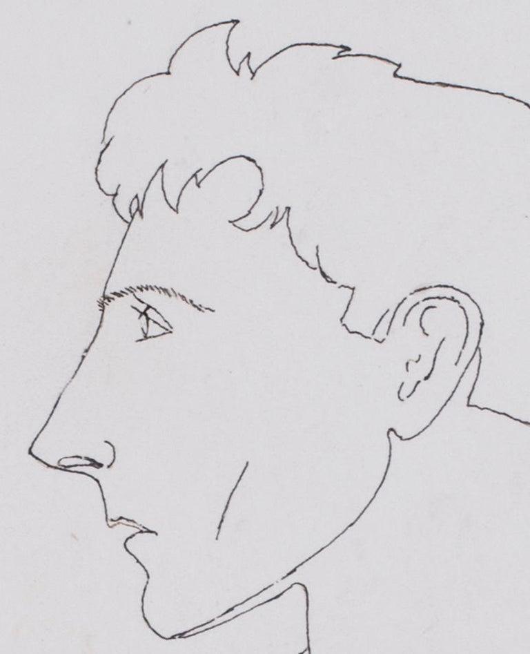 Early Jean Cocteau, Self Portrait, ink drawing, 1922 - Surrealist Art by Jean Cocteau