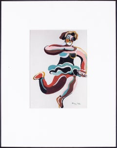 British, early 20th Century gouache of a dancing girl by Poy