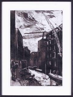 British, 20th Century aquatint of Butlers Wharf, Towerbridge, London
