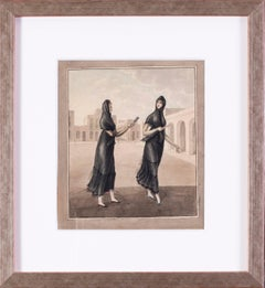 Spanish early 19th Century watercolour of women at the market