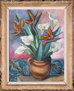 French, 20th Century oil painting of vase of lillies and birds in paradise