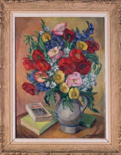 French 20th Century oil painting of a vase of flowers