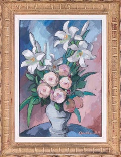 French 20th Century Post Impressionist still life painting of lilies and roses