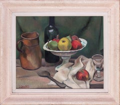 French Post Impressionist oil painting of a still life with apples and wine