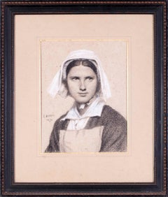 19th Century drawing of a Breton Girl by Paul Dubois