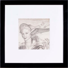 Jean Dupas art deco drawing, 1932 'Tete d'Hermes (Head of Hermes)'