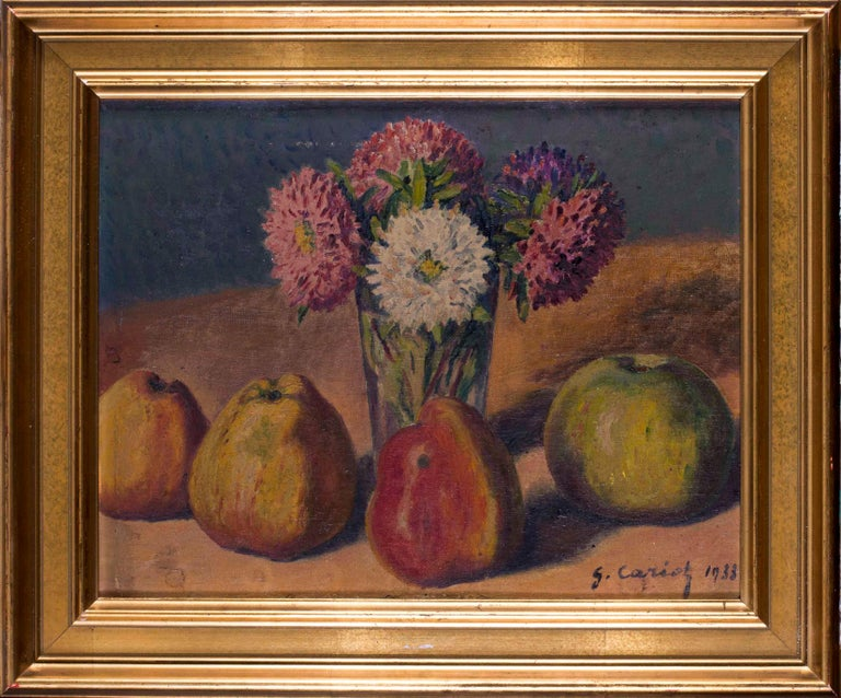 Gustave Cariot Still-Life Painting - French Impressionist, early 20th Century oil painting of still life with quince