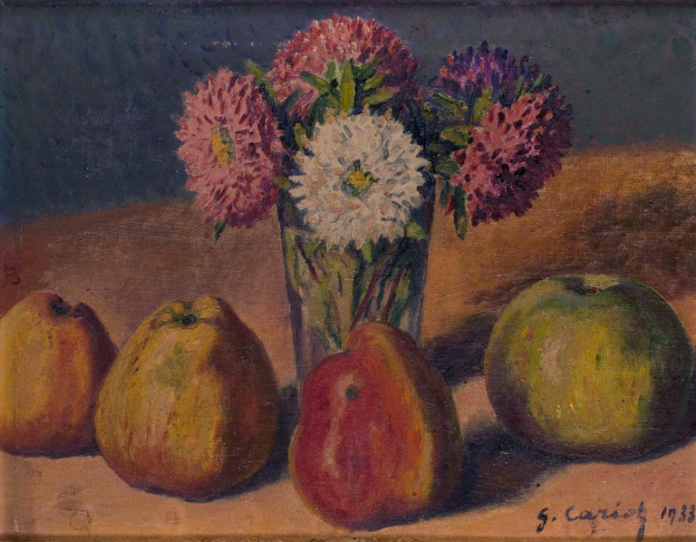 French Impressionist, early 20th Century oil painting of still life with quince - Painting by Gustave Cariot