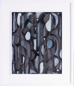French 20th Century abstract painting by Frederique Giusti 'Erosion II', blacks