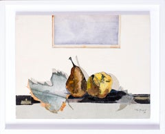 French 20th Century collage on paper of a still life with fruits by Lily Masson