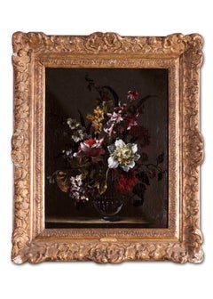 Flemish Old Master oil painting of a still life with flowers in a vase