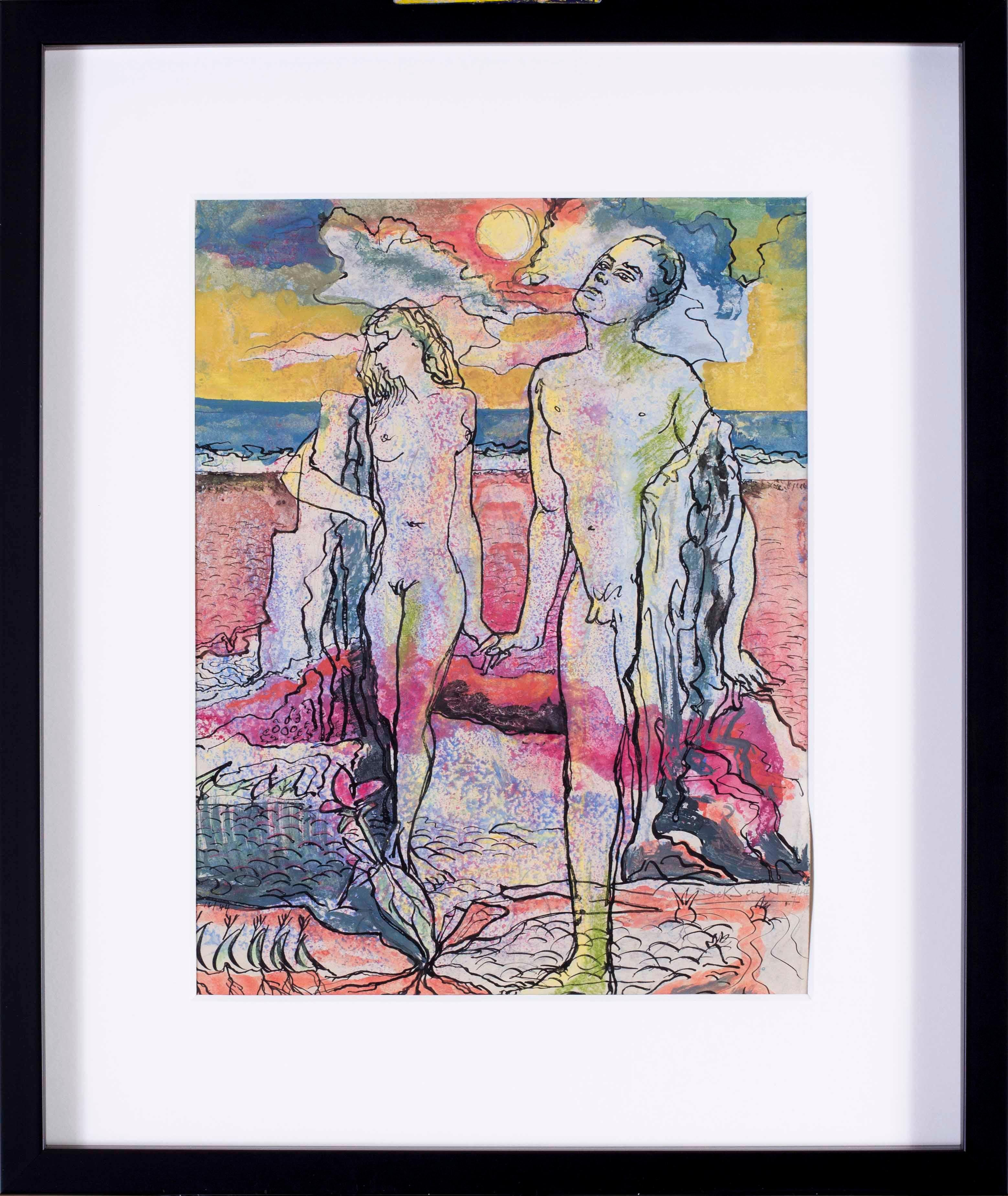 British 20th Century watercolour on paper 'Adam and Eve'