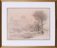 British Early 20th Century drawing of Yorkminster by Albert Goodwin