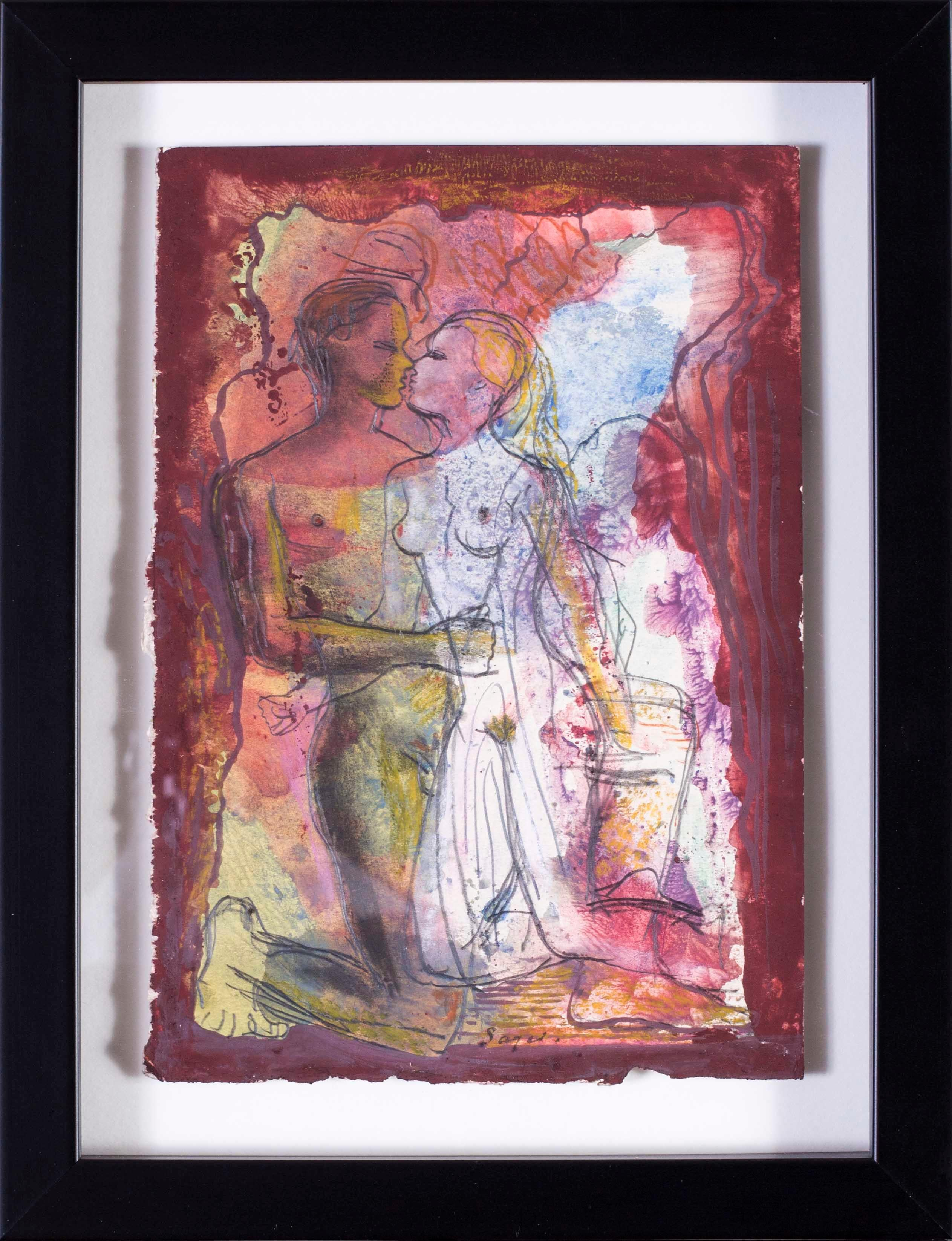 British mid century watercolour of a pair of naked lovers, 1944