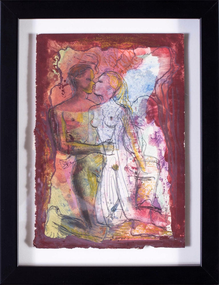 Derrick Latimer Sayer Figurative Art - British mid century watercolour of a pair of naked lovers, 1944