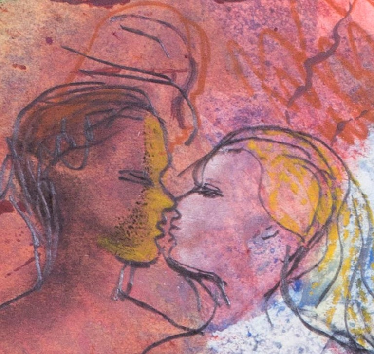 British mid century watercolour of a pair of naked lovers, 1944 - Expressionist Art by Derrick Latimer Sayer
