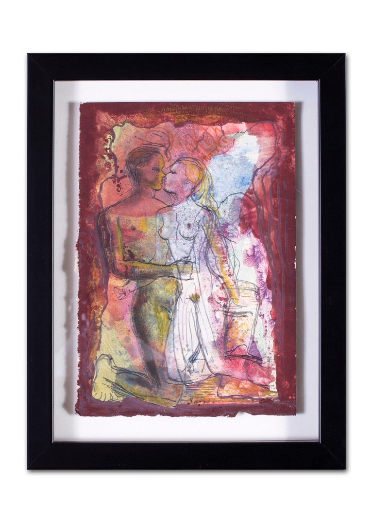 British mid century watercolour of a pair of naked lovers, 1944 For Sale 3