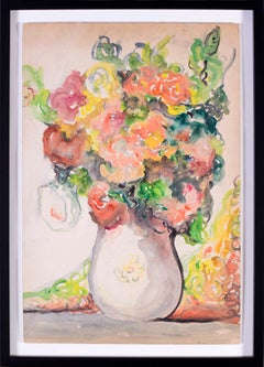 British Mid 20th Century watercolour on board still life painting of flowers