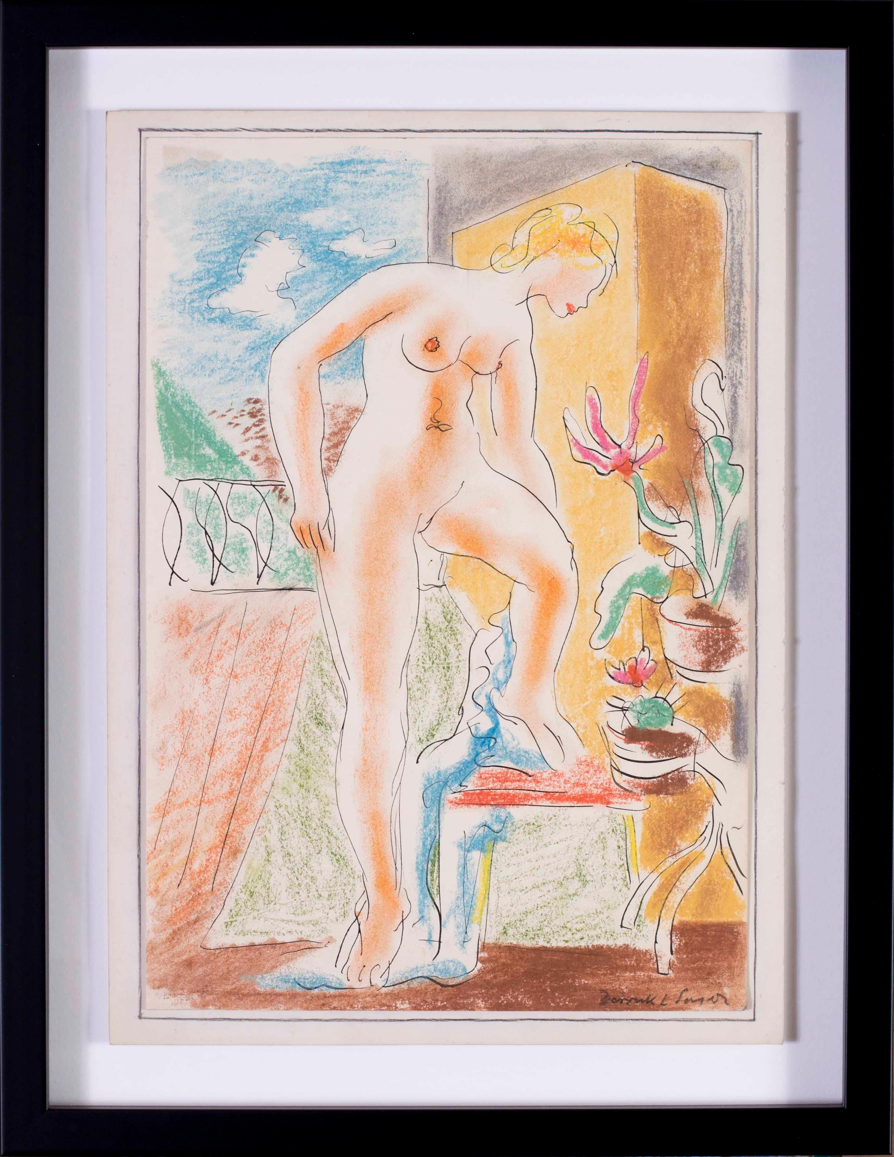 British Mid 20th Century ink and pastel on paper drawing of a bather, nude
