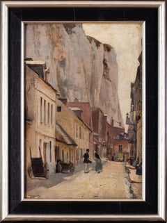 19th Century Oil painting of a street in the White Town, Le Tréport, France