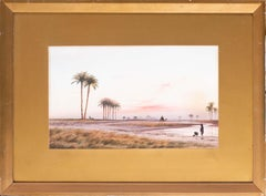 British 19th Century watercolour, 'Collecting water at dusk before the Pyramids