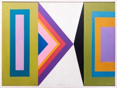A large 1970s British Oil on board retro geometric painting