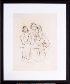 German Expressionist figurative drawing by Carl Hofer 'Sisters'