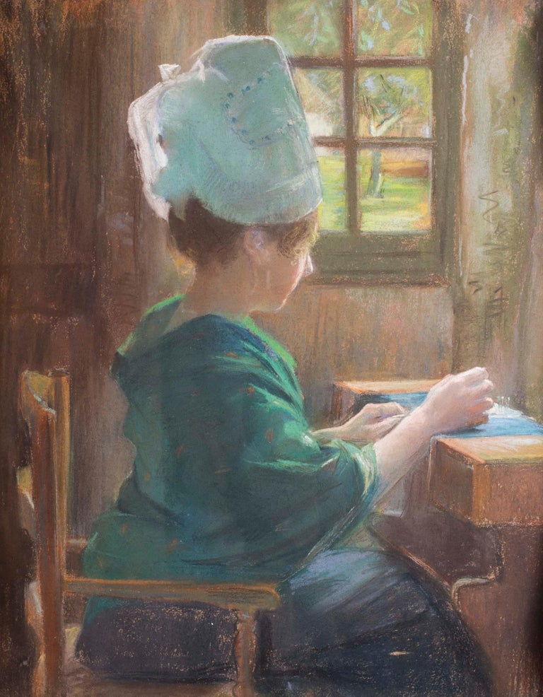 19th Century pastel on paper drawing of a lady lacemaking - Art by Andree-Marie Belin-Delzant