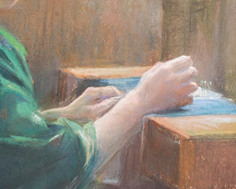 Andree-Marie Belin-Delzant (French, 1877 – c.1945) The lacemaker Signed 'A Delzant Belin' (upper left) Pastel on paper 21 x 17.1/4 in. (53.3 x 44 cm.)