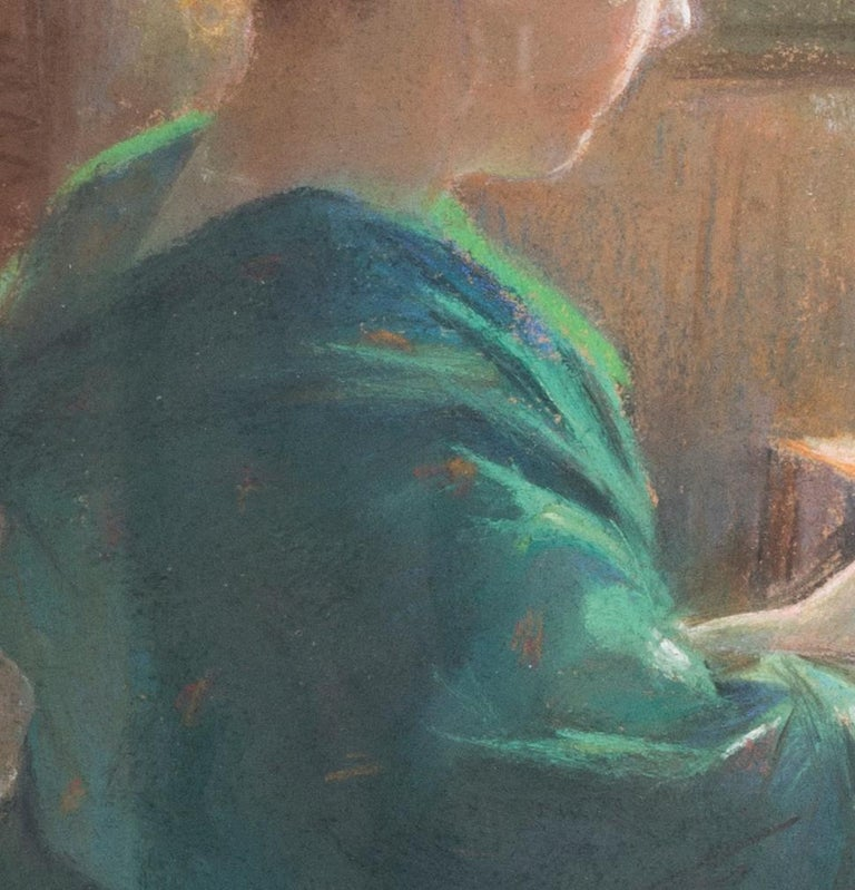 19th Century pastel on paper drawing of a lady lacemaking For Sale 1