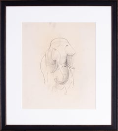 German expressionist drawing of a Bull Elephant by Carl Hofer