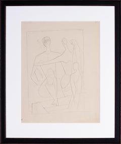German expressionist drawing of bathers by Carl Hofer 'Die Badegasten'