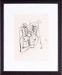 German Expressionist drawing by Carl Hofer of lovers