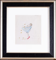 A 1930s drawing of a young girl in a blustery windy day with autumn leaves