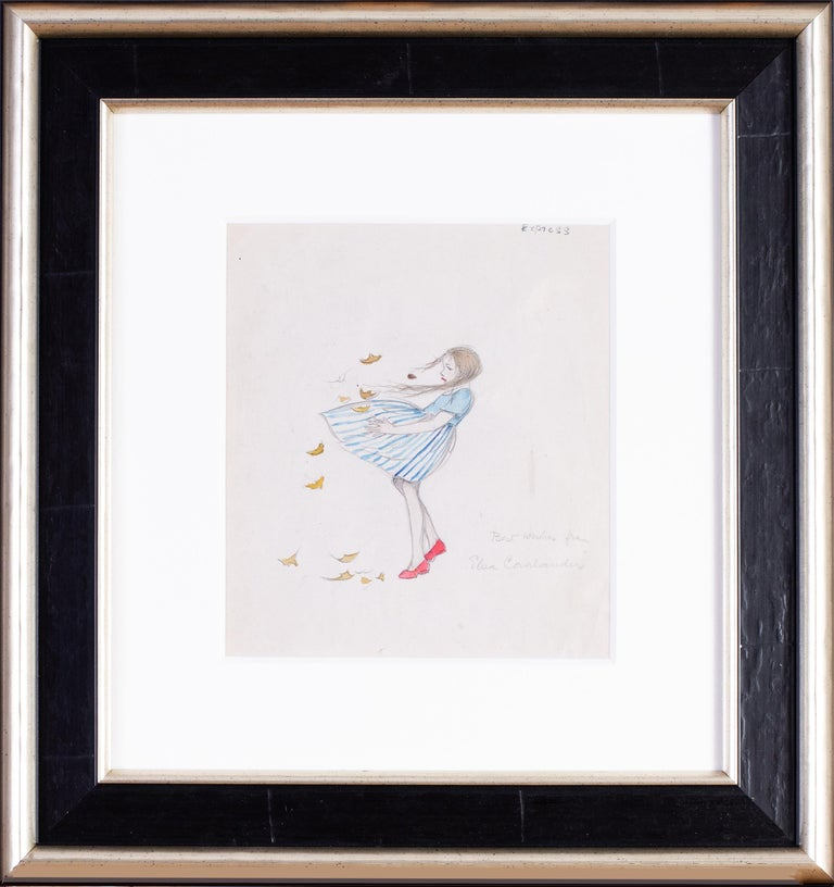 Elsa Carlander Figurative Art - A 1930s drawing of a young girl in a blustery windy day with autumn leaves