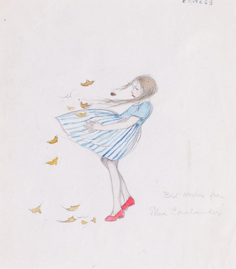 A 1930s drawing of a young girl in a blustery windy day with autumn leaves - Academic Art by Elsa Carlander