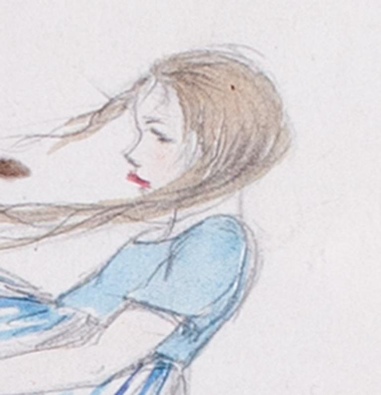 A 1930s drawing of a young girl in a blustery windy day with autumn leaves - Art by Elsa Carlander