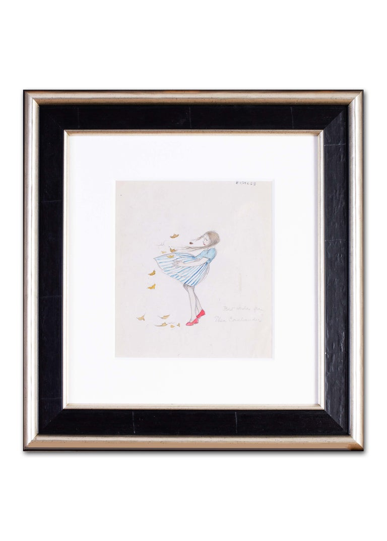 A 1930s drawing of a young girl in a blustery windy day with autumn leaves For Sale 1