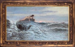 Czech 19th Century oil painting of a mermaid on some rock by  Knupfer