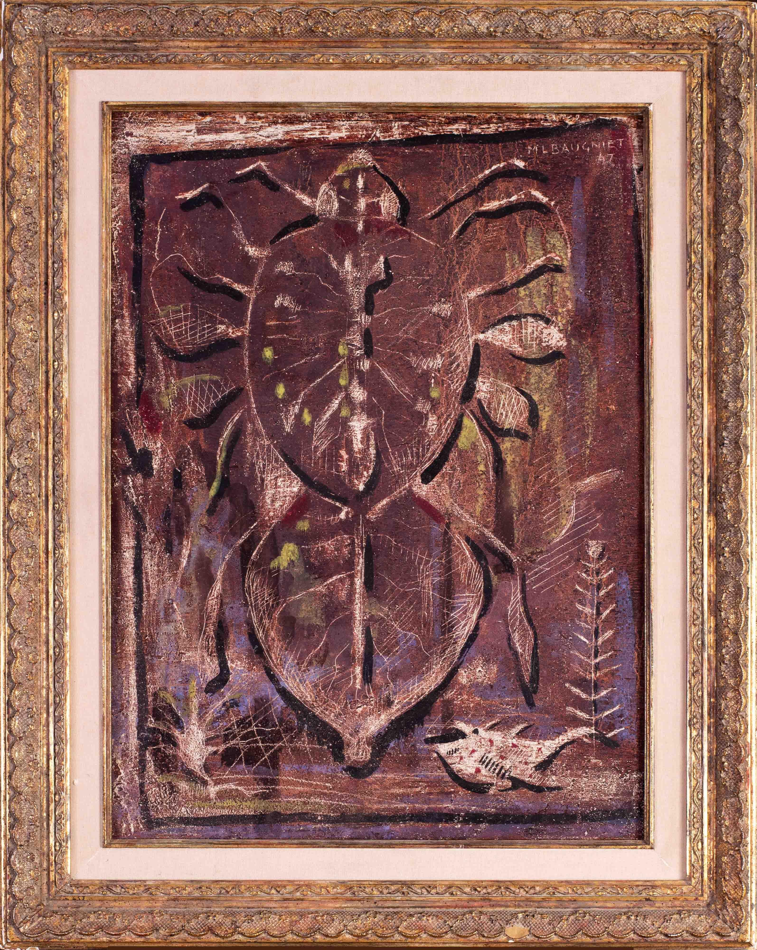 Mid 20th Century oil painting of a cicada by Belgian artist Baugniet