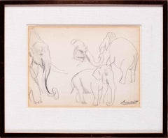 Dame Laura Knight drawing of elephants, British, 20th Century