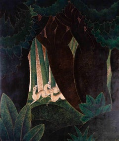 A large, original art deco panel of deer running through the woodland by Challol